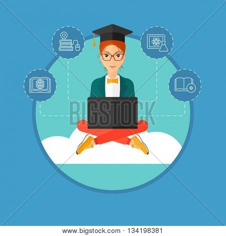 A graduate sitting on the cloud. A graduate in graduation cap working on a laptop. Education technology and graduation concept. Vector flat design illustration in the circle isolated on background.