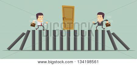 Businessman running to door. Stock vector illustration