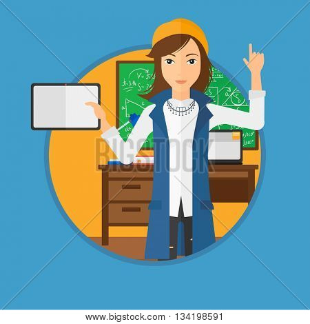 Student using a tablet computer in training class. Woman with tablet computer pointing her forefinger up. Education technology. Vector flat design illustration in the circle isolated on background.
