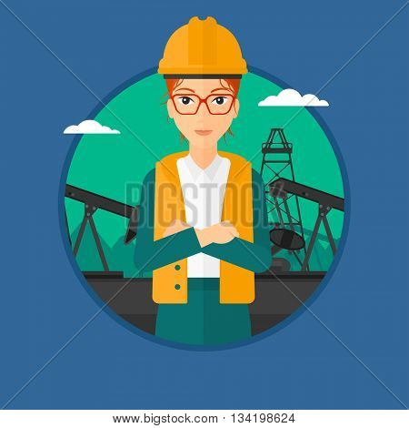 A female oil worker in uniform and hard hat. An oil worker with crossed arms. An oil worker standing on a background of pump jack. Vector flat design illustration in the circle isolated on background.