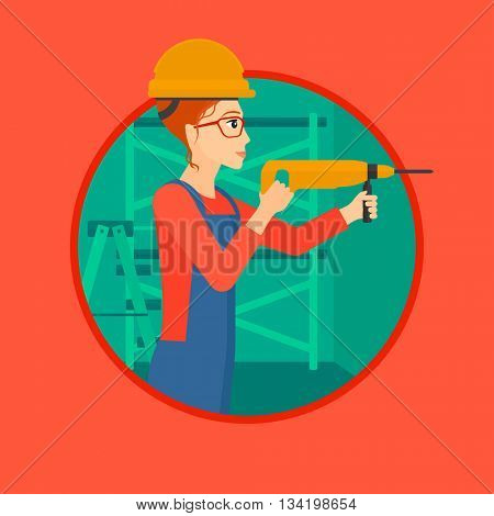 A female worker drilling a hole in the wall. A woman in overalls and hard hat working with hammer drill indoors. Vector flat design illustration in the circle isolated on background.
