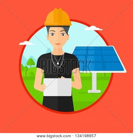 A female worker of solar power plant. Worker with tablet computer at solar power plant. Worker checking solar panel setup. Vector flat design illustration in the circle isolated on background.