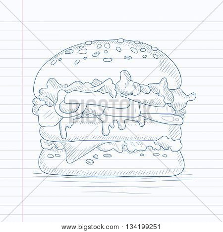 Hamburger with meat, cheese and lettuce. Hamburger hand drawn on notebook paper in line background. Hamburger vector sketch illustration.