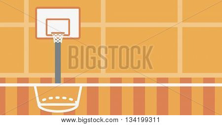 Background of basketball court. Basketball arena vector flat design illustration. School basketball court. Sport concept. Horizontal layout.