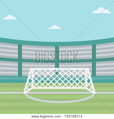 Background of soccer stadium. Soccer stadium with gate. Soccer field. Soccer arena. Soccer stadium vector flat design illustration. Sport concept. Square layout.