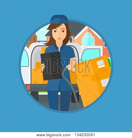 Delivery woman with cardboard boxes on troley. Delivery woman with clipboard. Delivery woman standing in front of delivery van. Vector flat design illustration in the circle isolated on background.
