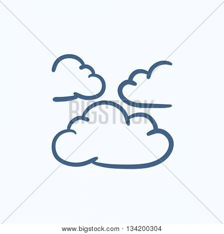 Clouds vector sketch icon isolated on background. Hand drawn Clouds icon. Clouds sketch icon for infographic, website or app.
