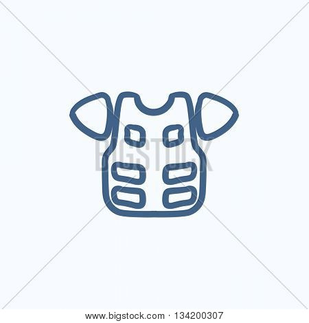 Motorcycle suit vector sketch icon isolated on background. Hand drawn Motorcycle suit icon. Motorcycle suit sketch icon for infographic, website or app.