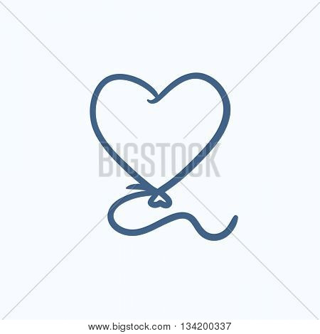 Heart balloon vector sketch icon isolated on background. Hand drawn Heart balloon icon. Heart balloon sketch icon for infographic, website or app.