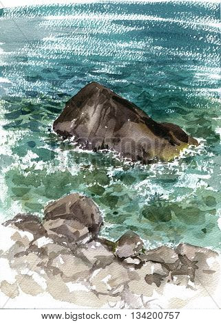 rocks in the sea shore and waves, sea water drawing in watercolor, hand painting illustration