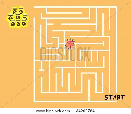 brain cartoon character vector illustration walking to maze but cannot find way out (conceptual image about a person walking in maze to win big money but get loss with stress and frustrated)