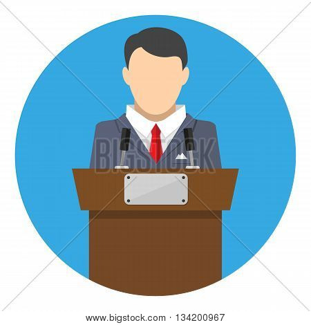 orator speaking from tribune. public speaker. vector illustration in flat style