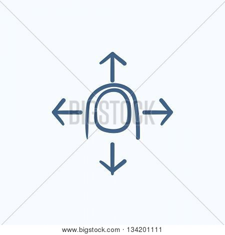 Move touch screen gesture vector sketch icon isolated on background. Hand drawn Move touch screen gesture icon. Move touch screen gesture sketch icon for infographic, website or app.
