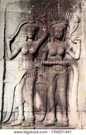 Apsara relief in angkor wat temple, Cambodia