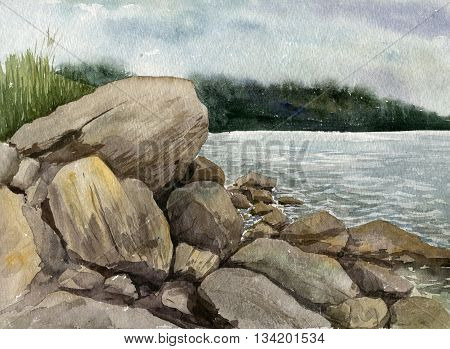 rocks at the sea shore with reflection in water waves and green forest at distance on a cloudy rainy day , sea landscape drawing in watercolor, hand painting illustration