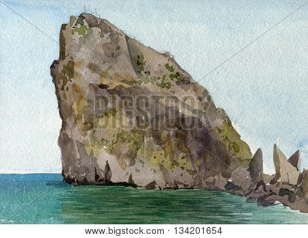 lone rock on the sea shore with reflection in calm water, landscape drawing in watercolor, hand painting illustration