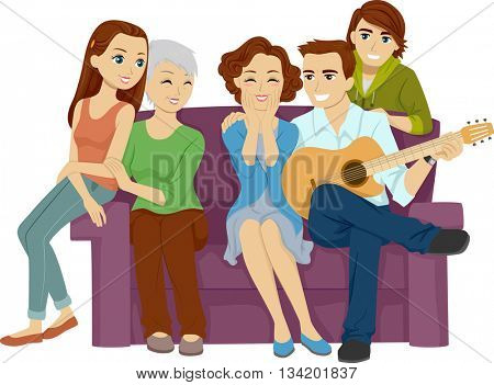 Illustration of a Husband Serenading His Wife in Front of the Whole Family