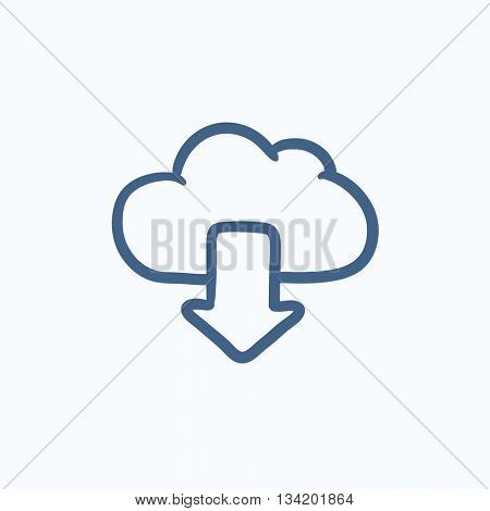 Cloud with arrow down vector sketch icon isolated on background. Hand drawn Cloud with arrow down icon. Cloud with arrow down sketch icon for infographic, website or app.