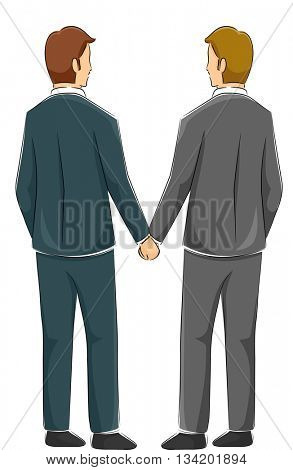 Back View Illustration of a Male Same Sex Couple Holding Hands After Getting Married