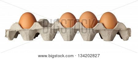 Row of eggs with one missing isolated on white background