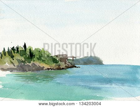 watercolor drawing coast of sea with trees and blue water, hand drawn illustration