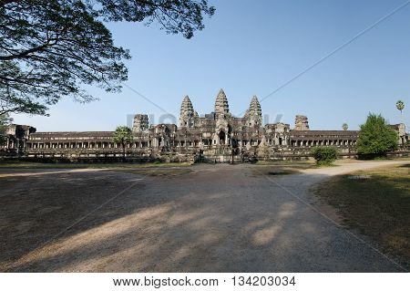 The backside of the temple complex of Angkor Wat