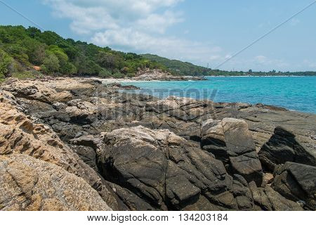 Rocks, sea and sky are beautiful in Thailand.