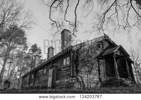 swedish house in black and white with trees