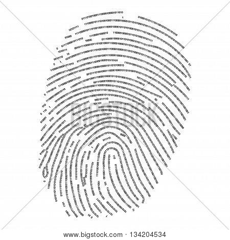 Fingerprint made with binary code futuristic bionic concept