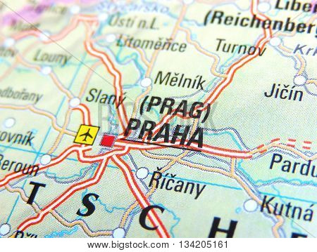 Map with focus set on Prague, Czech Republic.