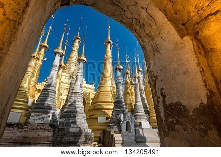 Indein village Pagoda Inle Lake at Myanmar