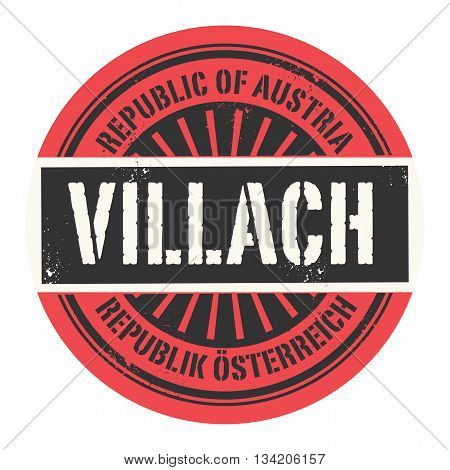 Grunge rubber stamp with the text Republic of Austria, Villach, vector illustration
