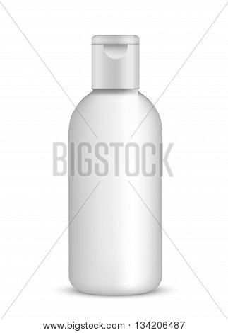 white shampoo bottle isolated on white. vector illustration.