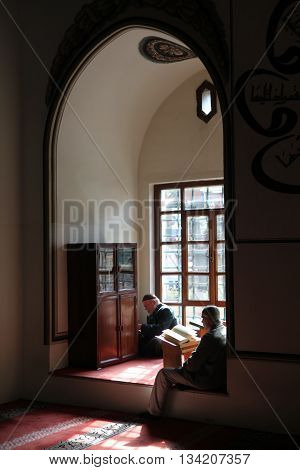 BURSA, TURKEY - APR?L 11: An interior view of Great Mosque (Ulu Cami) on April 11, 2013 in Bursa, Turkey. Great Mosque is the largest mosque in Bursa and a landmark of early Ottoman architecture.
