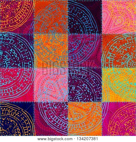 Vector seamless ethnic pattern in indian patchwork  style