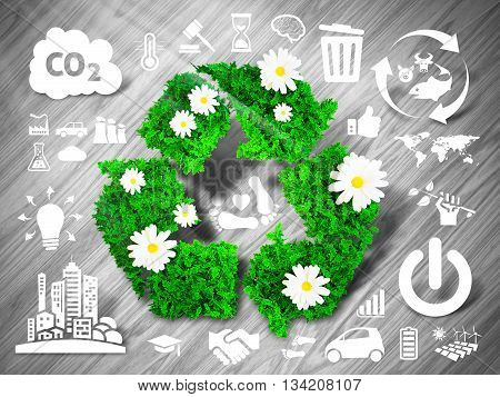 Green recycle sign on grey wooden background with eco related icons. 3D illustration.