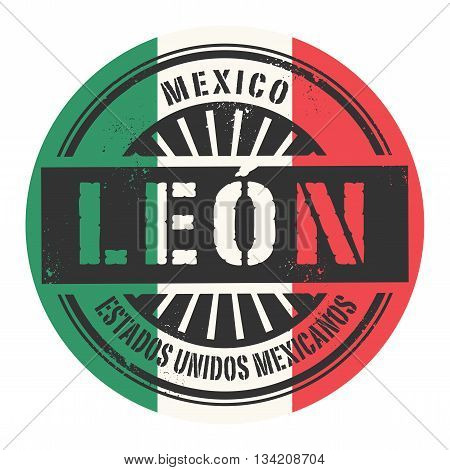 Grunge rubber stamp with the text Mexico, Leon, vector illustration