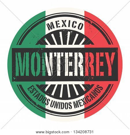 Grunge rubber stamp with the text Mexico, Monterrey, vector illustration