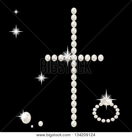 cross with large beautiful pink pearls and stars romantic on black background