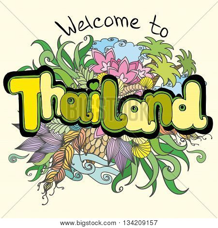 Welcome to Thailand background hand drawing vector illustration