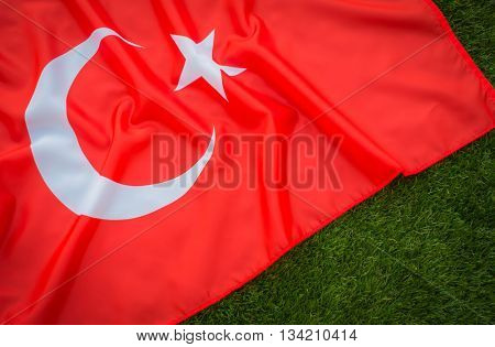 Flags of Turkey on green grass