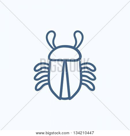 Computer bug vector sketch icon isolated on background. Hand drawn Computer bug icon. Computer bug sketch icon for infographic, website or app.