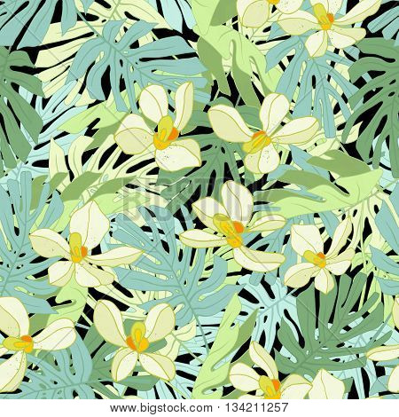 Tropical palm leaves. Seamless tropical jungle floral pattern. Vector illustration.