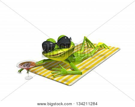 3d illustration of a frog with glasses on a towel