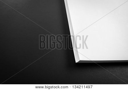 White template paper on black background