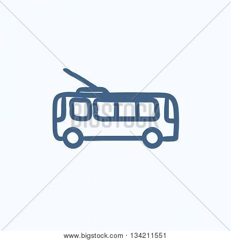 Trolleybus vector sketch icon isolated on background. Hand drawn Trolleybus icon. Trolleybus sketch icon for infographic, website or app.