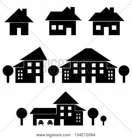 Houses different forms isolated on white background