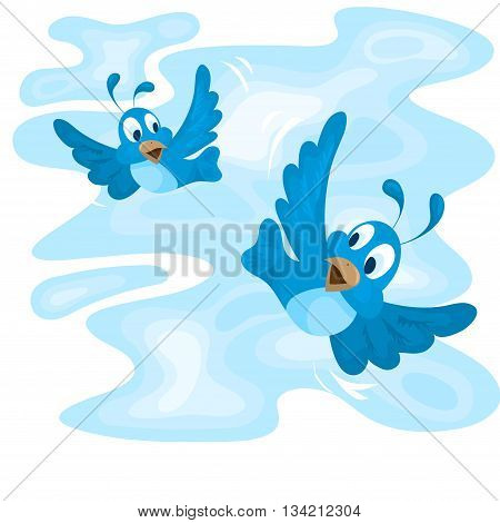 Two birds flying in the blue sky