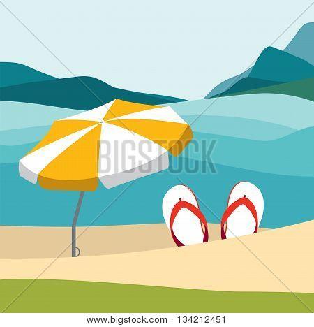 Summer beach with color flip flops and red umbrella. Flat summer design illustration. Summer vector.