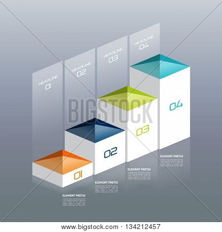 Infographic vector 3D chart, graph, digital diagram, workflow, number step by step option.